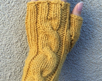 One Cable Fingerless Gloves/Hand Warmers/Manicure Gloves (Goldenrod)