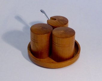 Vintage wooden cruet set - comprising salt, pepper & mustard pot