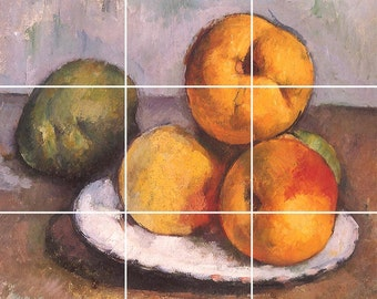 Still Life with Quince, Apples, and Pears Tile Mural Painting Back Splash Kitchen Home Decor Art