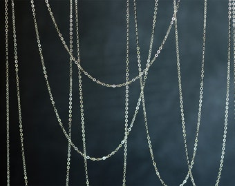 2096_Sterling silver chain 1.3mm x 2mm, 925 sterling silver chain, Flat silver chain, 925 Italy silver chain, Jewelry making silver chain_1m