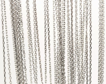2081_925 silver chain 1mm x 1.5mm, 925 sterling silver chain, Oval link chain, Silver chain, Rhodium plated chain for jewelry making_0.5m.