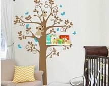 Wall Decals - Shelving Tree with birds- Baby Nursery Decals - bears - bear sticker -wall decal nursery - Wall Decals - kids stickers H839