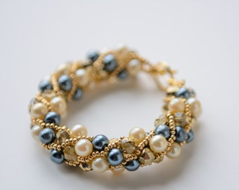Cream, Gold, Navy Russian Spiral Bracelet