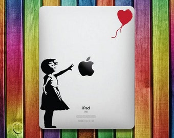 Girl with Ballooon iPad Sticker Decal - decal stickers,  ipad stickers, sticker apple, ipad decals,  ipad sticker, sticker ipad
