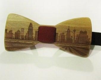 Wooden Bow Tie - SAN ANTONIO Skyline - Cherry Wood - Self Tie Bow Tie For Men Formal Wear