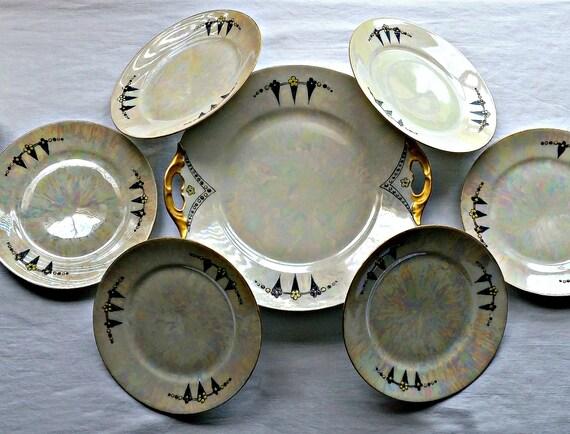 dessert plate set art nouveau dishes victorian plates. Black Bedroom Furniture Sets. Home Design Ideas