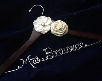 Rustic wedding hanger, Personalized wedding hanger, Bride hanger, wedding dress hanger, Burlap flowers hanger