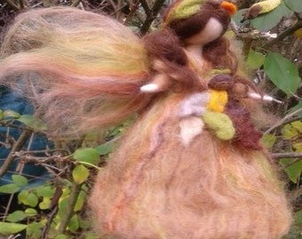 Needle felted Fairy inspired Waldorf Nut-brown