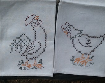 Hand Embroidered/Hand Stitched Linen Dish Towel Set/Chickens-Rooster and Hen