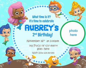 Bubble Guppies Invitation. Bubble Guppies Birthday Invitation. Bubble Guppies Party. Bubble Guppies Printable. Digital (you print)