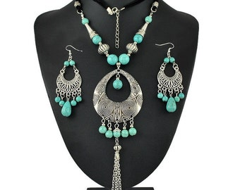 Long Turquoise Necklace and Earring Set