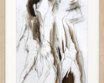 Women drawing, Giclee art print, Charcoal Sketch, Women Wall art print, Figurative sketch, Modern Artwork, Graphic art print, Woman sketch