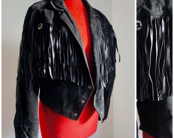 Vintage 1970s black fringed suede leather jacket / small / 8 10