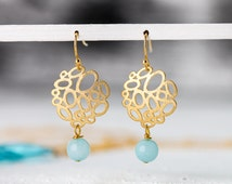 Intricate gold plated bubble earrings with turquoise amazonite, delicate earrings, amazonite bead, gold jewelry, gold earrings, filigree
