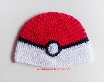 ADULT. Pokemon Go crochet Hat unisex man and woman. Pokeball crochet Cap. Female hat. Male hat. Woven Cap.