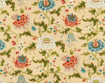 BRUNSCHWIG & FILS Shabby Cabbage Roses Linen Fabric 5 Yards Teal Coral Multi
