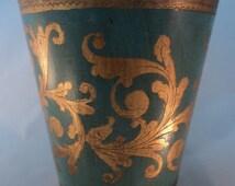 Vintage Italian Florentine Turquoise and Gold Wastebasket- Trash Can