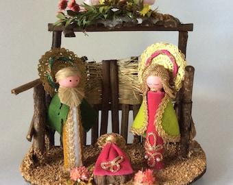 Handmade Vintage Christmas Nativity Scene Christmas Religious Decor