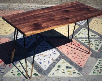 Solid Black Walnut Coffee Table with Gold Tipped Hair Pin Legs // Food Safe Finish // FREE SHIPPING