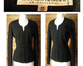 Women's jacket, black coat, black jacket, zipper coat, zip up jacket, wool coat, wool jacket, zip front jacket | Armani | made in Italy
