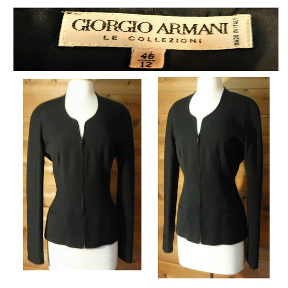 Women's jacket, black jacket, wool coat, women's coat, black coat, Armani, Italian, professional, business, secretary, designer, prep