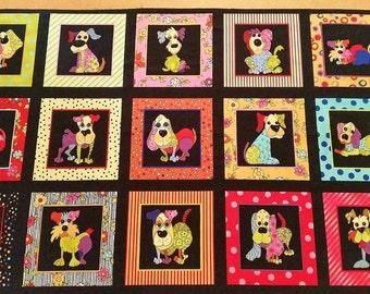 Loralie Designs Dog Happy Panel Quilting Fabric