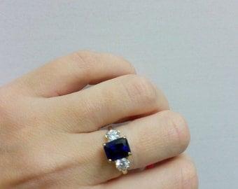 SALE! Deep blue ring,sapphire ring,rectangle ring,gold ring,gemstone ring,emerald cut ring,royal navy blue ring,wedding gift