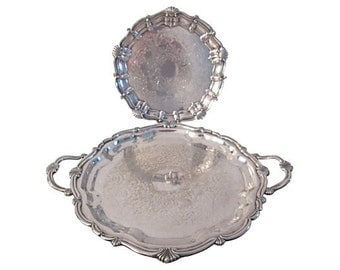 Silver Scroll Serving Trays, Pair