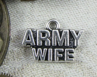 "Single Silver ""Army Wife"" Charm, 1 per package. CAU038s"