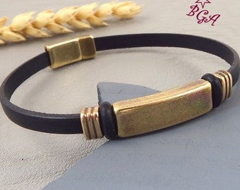 Kit tutorial leather black man with beads and golden bronze clasp strap