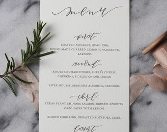 Calligraphy Menu Design for Wedding, Rehearsal Dinner, or Party