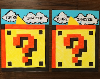 Mario Question Block party invitations [10 pack]