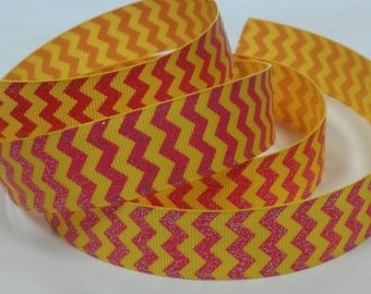 7/8 inch Yellow and Pink Glitter CHEVRON - Printed Grosgrain Ribbon for Hair Bow