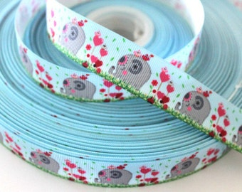 7/8 inch Chubby Love Elephants on Pastel Blue - Printed Grosgrain Ribbon for Hairbow