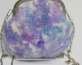 Wool Felt Purse Clutch Cross Body Bag Small Evening Purse Wool Felt & Hand Dyed Silk Shoulder Bag After Five Purse 11642