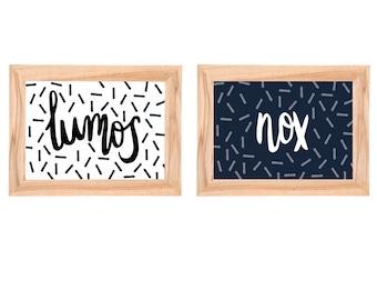Lumos and Nox Art Prints | Harry Potter Spells
