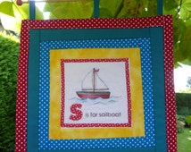Wall hanging sailboat, wall hanging baby room, quilt for baby, wall decoration baby, letter quilt, wall hangings, wall quilts.