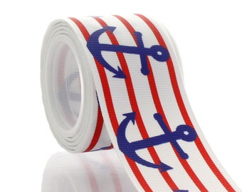 "1.5"" Red Blue Nautical Anchors Grosgrain Ribbon - 5yds"