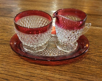 Indiana Glass Ruby Band Sugar Bowl & Creamer Set with Tray