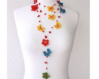 FREE SHIPPING Multicolor Flowers with beads Hand Crocheted Lariat Necklace, Bracelet or Belt
