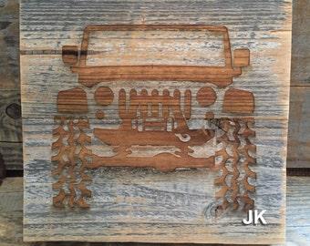 Laser engraved Jeep art (cj, yj, tj, lj, jk, jku, xj, zj)