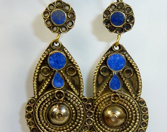 Blue Tribal Earrings, vintage