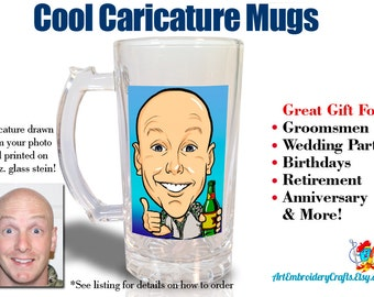 Cool Caricature Groomsmen Mugs, Wedding Party Gifts, Birthday Gifts, Custom Caricature, Beer Steins Caricature Glasses 16 oz.