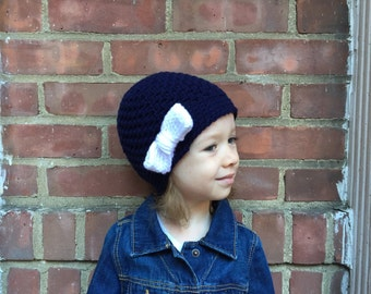 Baby and Toddler Crochet Hat with Bow/Navy with White Bow