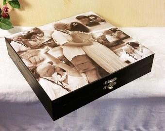 Custom Photo Collage, Photo Collage Box, Keepsake Box, Personal Collage Keepsake Box, Photo Collage, Personal Photos, Customized Photo Box