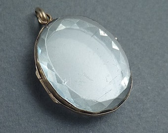 Rare facetted rock crystal locket c1840