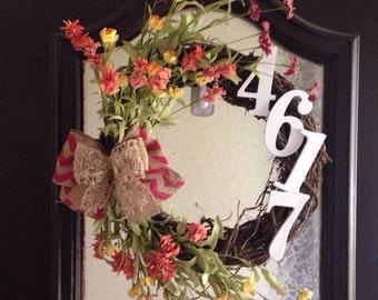 Grapevine Wreath, Grapevine Flower Wreath, House Number Wreath, Everyday Wreath