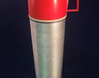 Vintage THERMOS BRAND - Thermos Bottle - Ribbed Metal 2284 Red Cup & Stopper