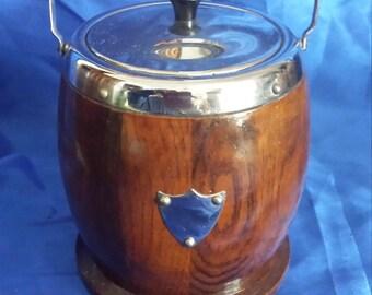 Vintage Wooden Oak and Chrome Biscuit Barrel / Ice bucket with Porcelain Liner