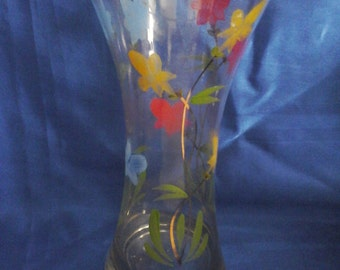 A Tall Glass Vase Handpainted Flowers in Red, Yellow and Blue
